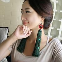 Chinese style tassel earrings female national trend ultra long big drop earring accessories single