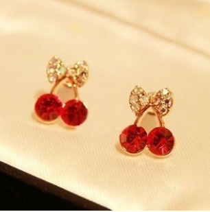 ER031 Cute little pieces of red cherry delicate drilling earrings elegant female ring fashion earrings Free shipping(China (Mainland))