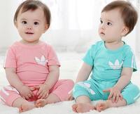 Hot selling ! 2014 New Summer Children suit boy Girl 2-pcs suit  short sleeve t-shirt+pants baby sets 80-90-95-100