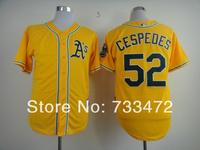 hot sale Oakland Athletics jersey 52 Yoenis Cespedes youth yellow white green kids Baseball Jersey