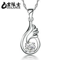 Gulance 925 pure silver necklace short design chain diamond wings Women accessories fashion pendant