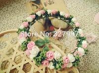 Fashion wedding flower girl head crown PE foam pink white Hawaii head  wreath NW033