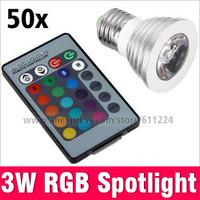 E27 LED 3W 85-265V RGB Spotlight with Infrared 24Key Remote Controller