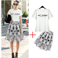 Woman Skirts New Fashion 2014 Summer Women's Clothing Set Pleated Skirt Suits T-Shirts/Handmade Crochet Floral Skirt Knee Length