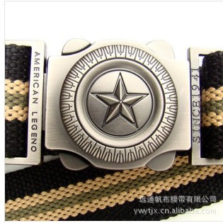 2014 New men's five-pointed star fashion casual outdoor belt canvas belt thick leather canvas braided belt black/white 100CM(China (Mainland))