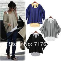 Womens Loose Batwing Tops T-Shirt 2PCS Blouse+Tank Casual Vest 4 Color 4 Size
