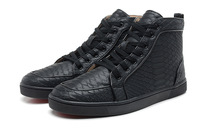 New 2014 red bottom Men's Flat Tonal Python Sneakers High top Sneakers For Men size 39-46