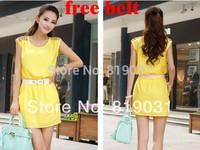 new 2014 summer women chiffon OL temperament Slim thin package hip sleeveless Knee-Length tank dress!S,M,L,XL! free shipping
