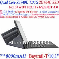"New Tablet PC 10.1"" Capacitive Intel Quad Core Baytrail-T Z3740D 1.33Ghz 2G RAM 64G SSD WIFI HDMI Dual Camera Window 8"