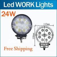 24W Led Car Work Light Spot Beam Off Road Lamp Light UTE BOAT TRUCK 12V 24V 4WD 24w Round led working light bar