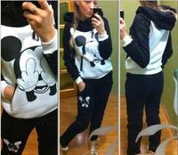 (swearshirt+trousers) Mickey Mouse Sport Suit Animal print Winter Set Womensfleece costume Hoodies Sweatshirts Freeshipping