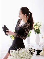 New Casual 2014 women sexy V-neck low-cut Long Sleeve Lace Bag Hip Mini slim Dress Clubwear Bodycon Evening Party Black & White