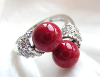 AMAZING twins 8mm red south seashell pearls ring