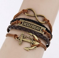 Europe and the United States is concise and anchor of eight manual multilayer woven bracelets#09051263#D84