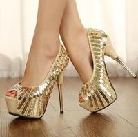 2014 Summer Luxury paillette open toe banquet ladies high heel shoes Women Platform Pumps Sexy high heels ms902-1