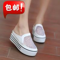 Platform platform rhinestone net fabric breathable female sandals half-slippers casual student women's shoes sandals
