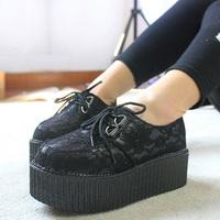 2014 Women's platform shoes lace shoes round