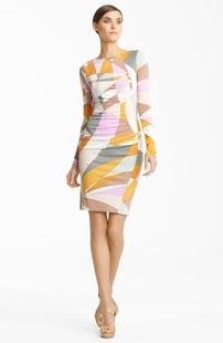 New arrival 2014 women ladies spring summer fashion print SILK JERSEY Italian design knee length casual dress plus size 009(China (Mainland))
