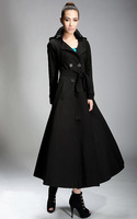 2014 spring autumn woman's  black x-lonng double breasted trench coat OL's outwear ankle length coat maxi coat  plus size S-XXL