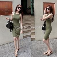 2014 sexy slim elegant slim hip basic  sleeveless tank  one-piece dress female