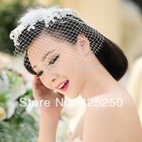 2014 New Arrival Top Fasion Trendy Tiaras Acrylic The Bride Accessories Vintage Ladies Fedoras Hair Accessory Wedding Veil Yarn