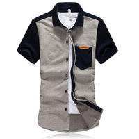 New 2014 summer men patchwork short-sleeve shirt male tops plus size clothing fashion blouses MultiColor Optional Free Shipping