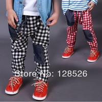 Boys Girls Pants Spring Children's Fashion 2014 Male Child Kids Plaid Pants Casual Long Trousers Retail and Wholesale
