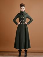 Autumn winter woman's vintage army green turtleneck  trench coat woolen outwear  ankle length coat maxi coat  plus size S-XXL