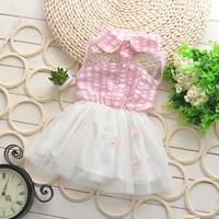 Free shipping new 2014 summer children's clothing girl plaid dress lapel buttons, girls tutu veil, girls dress 2-5 years