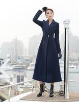 Autumn winter woman's vintage navy blue  ankle length coat trench coat woolen outwear  maxi coat  plus size S-XXL