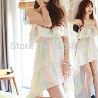 Spring and summer irregular low-high chiffon one-piece dress tube top beach dress