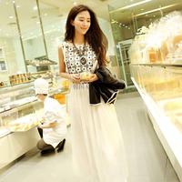 2014 gentlewomen spaghetti strap o-neck elegant chiffon bohemia one-piece dress full dress spring and summer