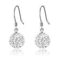 Cce s925 pure silver drop earring female full rhinestone crystal ball earrings rhinestone silver fashion earrings stud earring