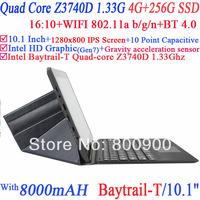10.1 inch tablet pc laptop Capacitive Intel Quad Core Baytrail-T Z3740D 1.33Ghz 4G RAM 256G SSD WIFI HDMI Dual Camera Window 8