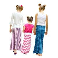 New Arrival 2014 Kids Girl Spring Summer 100% Pure Cotton Children Girls CHEVRON Fancy Long Skirt 5 Colors