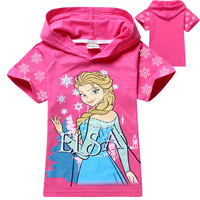 Children's Fashion  Casual sweatshirt hoodies 2014 Frozen  Baby & Kids Cartoon Girls T-shirts Short-sleeved T-shirt 6Pcs/lot