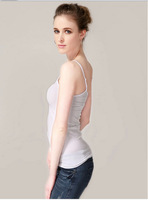 high quality cottom material women tank top summer dress white color solid camisole