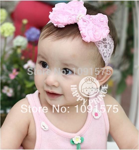 Min order $10--Infant flower headband Babies pink lace hairband Toddler Baby girls Felt Flower headband HC09(China (Mainland))