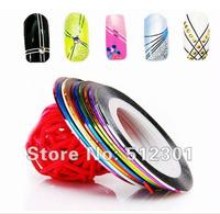 20 Colors  New 2014 Free Shipping 20 Pcs Rolls Striping Tape Metallic Yarn Line Nail Art Decorations Sticker