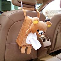 Car tissue box  Fashion car back seat hanging type tissue case cute brown bear tissue box tissue bag