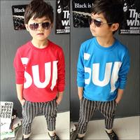Children's clothing male child spring 2014 bakham hiphop letter child long-sleeve T-shirt