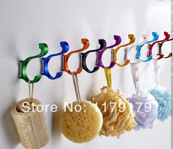 creative swan 10 colourfull aluminum hook cloths hook , cap hook 10 colors chicken room hook(China (Mainland))