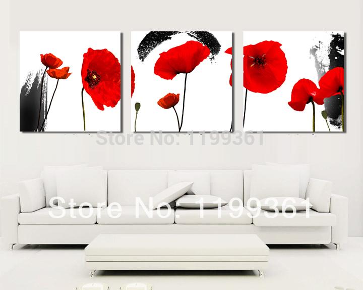 3 peça grátis frete Modern Wall pintura grande Abstract Red Poppy Flower decoração de gravuras pintura em tela impressões(China (Mainland))