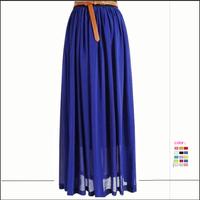 2014 Free Shipping Bohemian 15 Colors Summer Wear Fashion Women Chiffon Long Skirt TSP1018