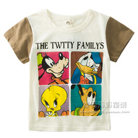 Clothing T-shirt 2014 short-sleeve top male female child baby cartoon patchwork T-shirt vesseled basic shirt