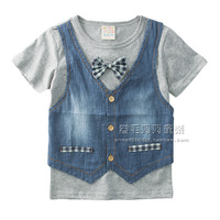 Clothing T-shirt 2014 short-sleeve top male female child baby 100% cotton bow tie 2 denim vest T-shirt