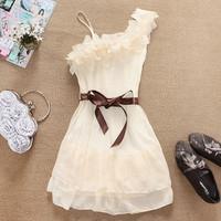 2014 summer beauty girl sweet temperament flowers Shoulder Pleated Chiffon Dress