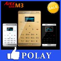 2014 Original Dual sim card Small Mini Touch Micro Card cell phone Aiek M3 Slim FM MP3 Bluetooth Low Radiation English Russian