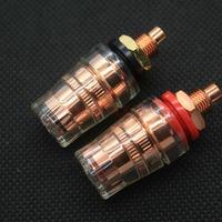 10PCS EIZZ Red Copper Plated Brass Speaker Amplifier Binding Post Terminal Connector Short Hread
