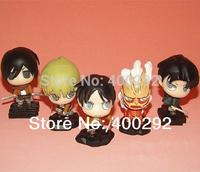 Attack on Titan Eren Mikasa Armin Rivaille Colossal Titan Q version Action Figures PVC Mini Toys set of 5